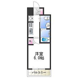 エグゼ阿倍野II 3階1Kの間取り