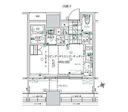 ローレルタワー ルネ浜松町 5階ワンルームの間取り