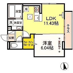 仮)Droom長峰A棟 3階1LDKの間取り