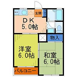 埼玉県八潮市緑町4丁目の賃貸アパートの間取り