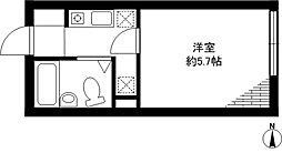 フラットK柿の木坂[1階]の間取り