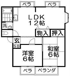 サンビレッジ高田B棟[1階]の間取り
