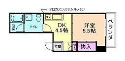 レイドール箕面 6階1DKの間取り