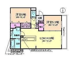 大阪府豊中市箕輪2丁目の賃貸アパートの間取り