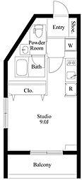 東急東横線 都立大学駅 徒歩8分の賃貸マンション 地下1階ワンルームの間取り