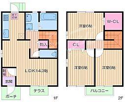 [テラスハウス] 大阪府池田市荘園1丁目 の賃貸【/】の間取り