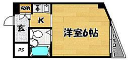 阪急京都本線 上新庄駅 徒歩9分の賃貸マンション 1階1Kの間取り