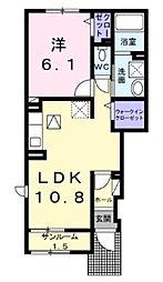 西武新宿線 入曽駅 徒歩9分の賃貸アパート 1階1LDKの間取り