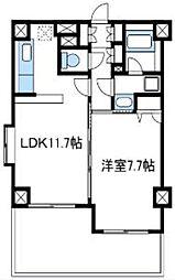 小田急小田原線 海老名駅 徒歩14分の賃貸マンション 2階1LDKの間取り