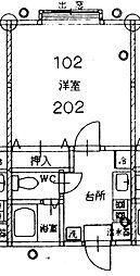 ピュアグリーンハイツ 2階1Kの間取り