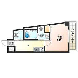 JR大阪環状線 西九条駅 徒歩7分の賃貸マンション 8階1Kの間取り