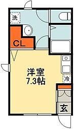 JR総武線 千葉駅 徒歩22分の賃貸アパート 1階ワンルームの間取り