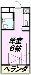 JR青梅線 中神駅 徒歩9分の賃貸マンション 1階ワンルームの間取り