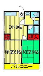 ロークワット美田[2階]の間取り