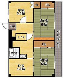 ビレッジハウス川瀬3号棟[2階]の間取り