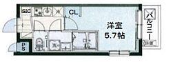 AQUAレジデンス立川第2 2階1Kの間取り