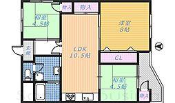 大阪府堺市北区新金岡町4丁の賃貸マンションの間取り