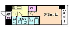 阪神本線 姫島駅 徒歩6分の賃貸マンション 7階1Kの間取り