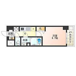 阪神なんば線 九条駅 徒歩4分の賃貸マンション 11階1Kの間取り