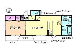 大阪府豊中市桜の町3丁目の賃貸アパートの間取り