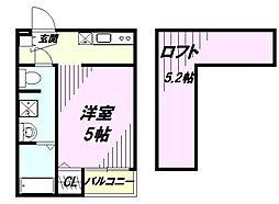 埼玉県所沢市金山町の賃貸アパートの間取り