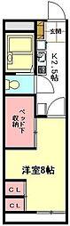 JR高崎線 北本駅 徒歩20分の賃貸アパート 2階1Kの間取り