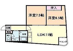 ハイツアケボノ[4階]の間取り