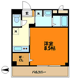 JR南武線 武蔵新城駅 徒歩11分の賃貸アパート 1階1Kの間取り