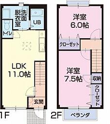 滋賀県東近江市小脇町の賃貸アパートの間取り