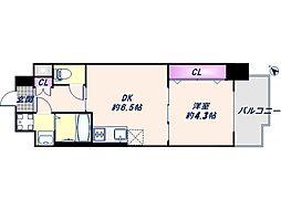 JR大阪環状線 弁天町駅 徒歩9分の賃貸マンション 2階1Kの間取り