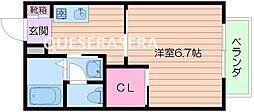 阪急千里線 関大前駅 徒歩20分の賃貸アパート 1階1Kの間取り