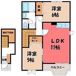 栃木県小山市乙女1丁目の賃貸アパートの間取り