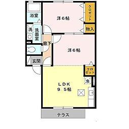 南海高野線 萩原天神駅 徒歩5分の賃貸アパート 1階2LDKの間取り