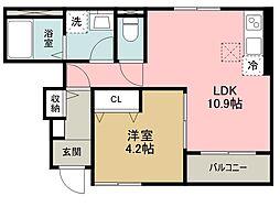 西武多摩湖線 武蔵大和駅 徒歩16分の賃貸アパート 1階1LDKの間取り