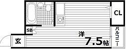 サングレイス板宿[3階]の間取り