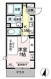 小田急小田原線 生田駅 徒歩5分の賃貸アパート 1階1Kの間取り