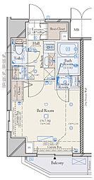 JR山手線 浜松町駅 徒歩6分の賃貸マンション 9階1Kの間取り