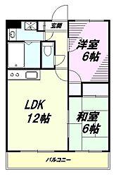 東京都八王子市初沢町の賃貸マンションの間取り