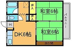 藤コーポA[206号室]の間取り