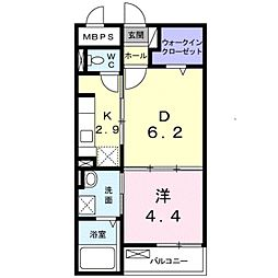 南海線 泉大津駅 徒歩9分の賃貸マンション 1階1DKの間取り