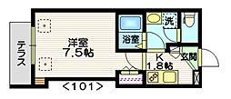 京急本線 大森町駅 徒歩9分の賃貸マンション 1階1Kの間取り