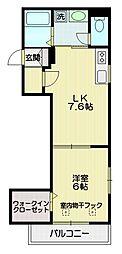 JR中央線 三鷹駅 徒歩15分の賃貸マンション 3階1DKの間取り
