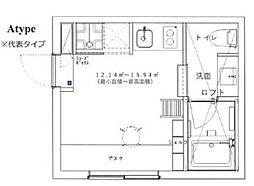 中央ラインハウス小金井CC 1階ワンルームの間取り