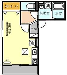 (仮)D-room戸田市新曽 2階ワンルームの間取り