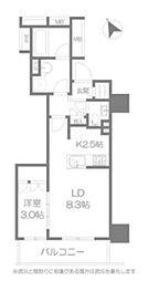 品川タワーレジデンス 8階1LDKの間取り