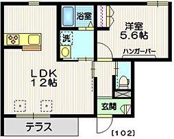 横浜市営地下鉄ブルーライン 中川駅 徒歩10分の賃貸マンション 1階1LDKの間取り