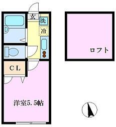 JR南武線 平間駅 徒歩10分の賃貸アパート 1階1Kの間取り