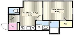 エスワンハイツ高ヶ坂 1階1DKの間取り