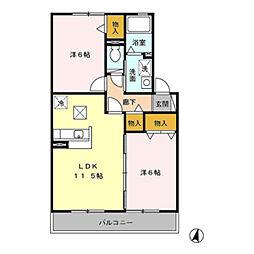 神奈川県川崎市多摩区南生田4丁目の賃貸アパートの間取り