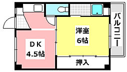 ビレッジハウス茨木 1階1DKの間取り